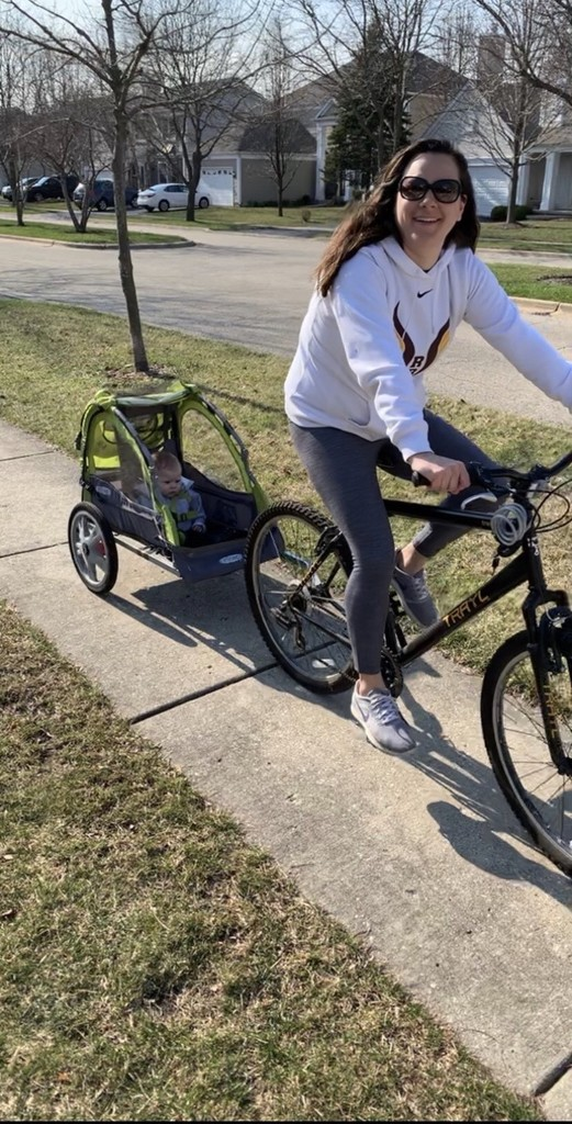 Mrs. Hencier bike-riding